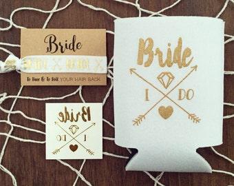 NEW! Boho Bride Bachelorette Gift Set | Metallic Gold Tattoo, Hair Tie + Drink Cooler | Bachelorette Gift, Boho Bachelorette Party Favor