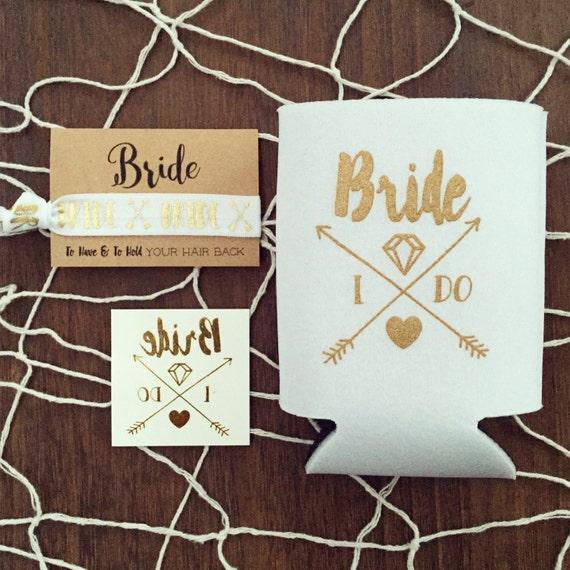 NEW! Boho Bride Bachelorette Gift Set   Metallic Gold Tattoo, Hair Tie + Drink Cooler   Bachelorette Gift, Boho Bachelorette Party Favor