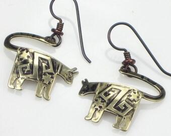 Native American Panther Bronze Earrings - Niobium Hypo Allergenic Ear Wires - Tribal Cat Petroglyph Earrings - Rock Art Gift Earrings