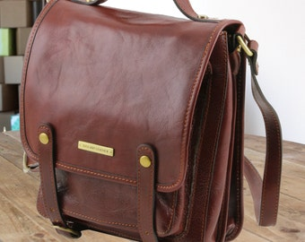 Personalised Leather Messenger Bag ~ Italian Leather Bag Available In 4 Colours