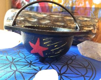 Hand Decorated Cauldron, Hand Painted Cauldron, Starry Night Cauldron, Creationsbygreenman,Greenman Organics,3 inch Cauldron,Custom Cauldron