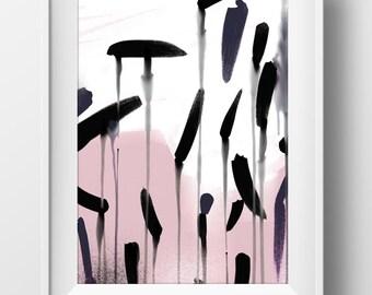 Printable Abstract Wall Art, minimal pink and black, modern wall art, original art, instant Digital Download, wall art