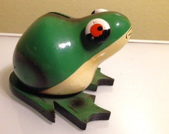 Vintage Robdal Wood Frog Coin Bank with Label