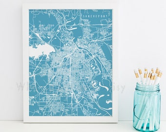 Shreveport Map Shreveport Art Shreveport Map Art Shreveport Print Shreveport Printable Shreveport City Art Louisiana Art