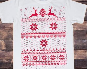 Men's White T-Shirt Christmas Jumper  Knit Print Novelty Print