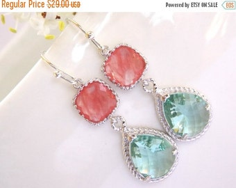 SALE Wedding Jewelry, Coral and Erinite Earrings, Grapefruit and Aqua, Silver, Bridesmaid Jewelry, Bridesmaid Gift, Drop, Dangle, Wedding Gi