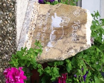 """Pet Memorial Stone, Horse or Other Pet Grave Marker,Pet Gravestone~Help DESIGN Your OWN-Hand Engraved  +Granite BASE* 8-1/2"""" X 11"""" x 1-1/2""""*"""