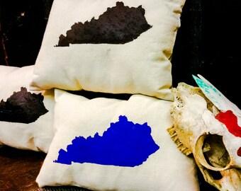 KENTUCKY PILLOW / Cushion /  Bedding / Kentucky Print Pillow / KY Decor / Throw Pillow / Scatter Cushion / Hipster / Burlap / Handmade