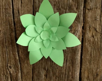 Giant Paper Flower 30cm diameter pale green pimpernel for wedding decor or photo booth backdrop.  In stock now. 706-030