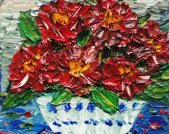 SALE -50% Red Petals, Original Oil Painting on Deep Edge Canvas