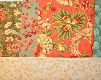 Quilt cotton fabric Momoyama by Sentimental Studios  and Sonnet by April Cornell Moda Destash fabric Rare 5  piece bundle