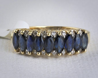 14k Yellow Gold Marquise Sapphire Ring with Diamond Accents