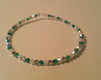 Green, silver and white beaded bangle