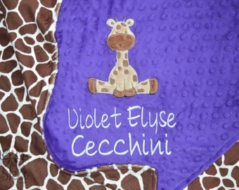 Giraffe Blanket, Personalized Blanket, Personalized Baby Blanket, Personalized Minky Blanket, Personalized Giraffe Blanket, Giraffe Minky