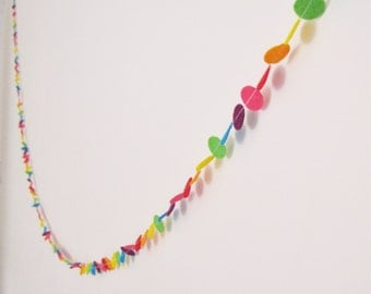 Rainbow felt circle garland bunting banner hanging decoration for birthday celebration childrens room