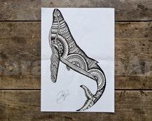 Whale - Whale Print - Whale Art Print - Whale Art - Whale Poster - Art Poster - Animal Poster - Animal Art Print Poster - Animal Art