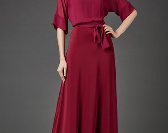 Party Marsala Maxi Dress.Beautiful Burgundy Prom Dress.Chiffon Dress Occasion