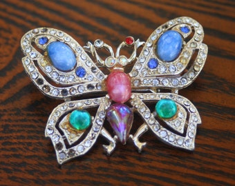 Vintage Butterfly Brooch, Silver Tone, Colorful Brooch, Costume Brooch, Butterfly Pin, Ladies Brooch, Gemstone Brooch, Butterfly Gemstone
