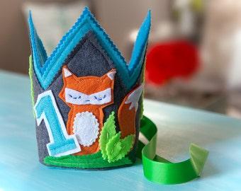 Woodland Birthday Hat, Fox Birthday Crown, Birthday Crown, Fox Birthday Decor, 1st Birthday Fox, Woodland  Birthday  Crown, Fox Crown