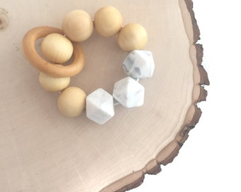 Wooden and Silicone Bead Teether, Teething Toy, Teething ring, Teething Bracelet, White Marble