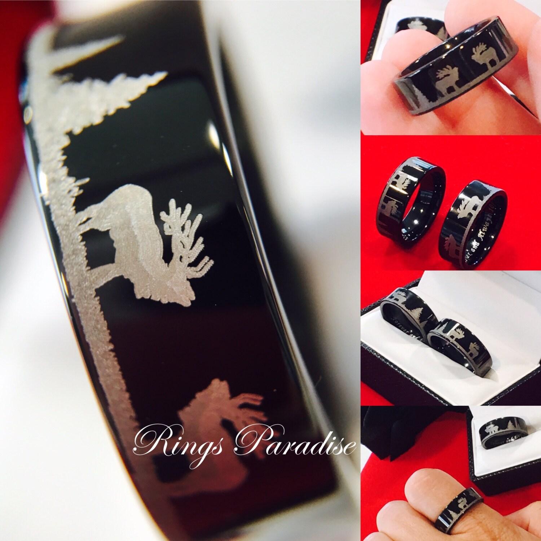 Elk Engraved Tungsten Wedding Bands Mens Tungsten Rings