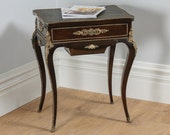 Antique French Louis XVI Revival Mahogany Leather  Brass Ormolu Writing Table by Alphonse Tahan (Circa 1870)