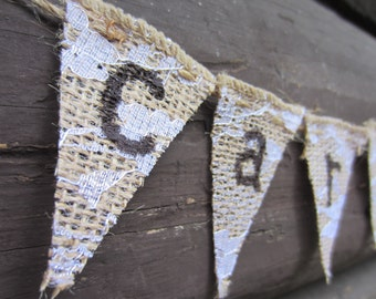 burlap and lace card banner, FREE SHIPPING, card banner, rustic burlap card banner, rustic card banner, card sign for cage, cage card sign,