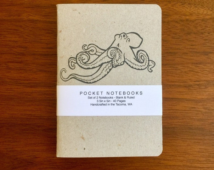 Octopus Notebooks 2 pack 3.5in x 5in Pocket Notebook handcrafted journal diary sketchbook gift set handmade kraft Premium Notebook no logos