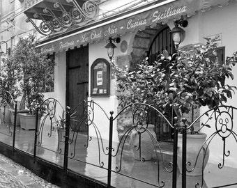 Italy Photography, black and white, Italian Restaurant, Kitchen Decor, Sicily, Europe, Palermo, Italy wall art, travel photo, fine art print