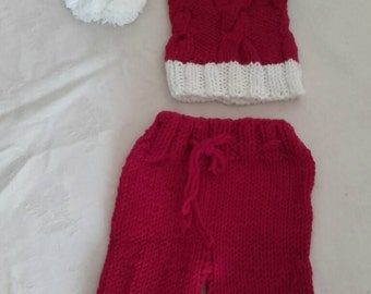 Knitted elf hat, xmas baby elf hat, photo prop elf  hat, newborn bottoms , baby elf hat, newborn boy elf hat
