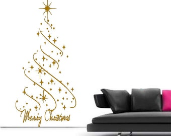 Large Christmas Star Christmas Tree Wall Art Decal Mural Sticker Bedroom  Living Lounge Kitchen Part 94