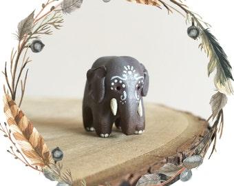Intricate Indian Elephant Spirit Animal Totem // Miniature Handmade Polymer Clay Animal Figurine