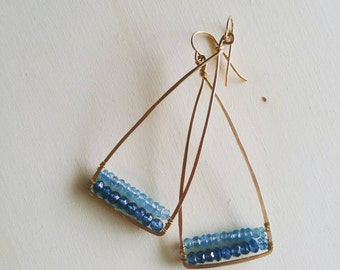 Apatite and London Blue Quartz Earrings in 14k Gold-Filled
