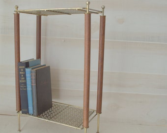 Mid Century Modern Side Table, Brass and Teak Phone Stand, MCM Phone Stand, Small Side Table