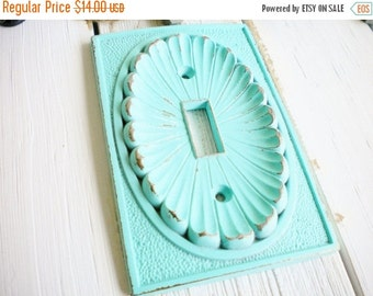 Sale Shabby Chic Light Switch Cover, 1 Way Light Switch Plate Cover, Vintage Repurposed In Aquamarine Wall Decor Beach ,Price For 1