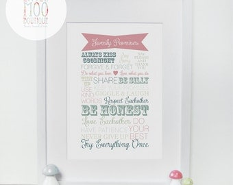 Family Promises Print - Personalised Print - Home Decor - Wall Art Print - Word Art Print - House Rules Print - Art Prints - Paper Goods