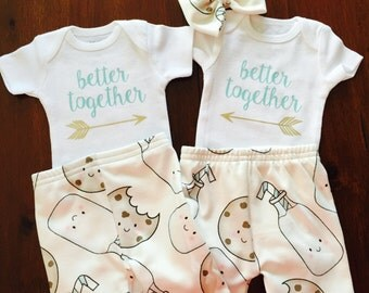Better together. Twins. Sibling set. Best friend. Twin baby's. Matching outfit. Best friend outfit. Baby girl. Baby twins. Baby shower.