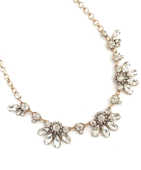 Crystal Flower Cluster Statement Necklace