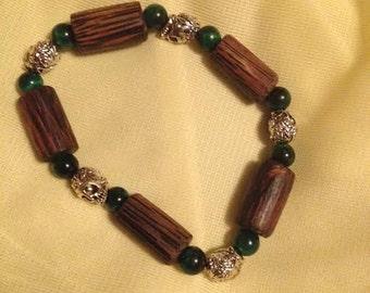 Green Tiger Eye Skull Bracelet