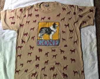 """1990s All Over Print """"Gone"""" Dog Tshirt"""