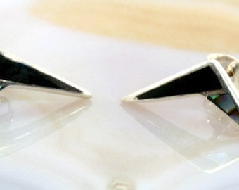 Stud earrings 925 sterling silver and abalone+onyx - 4258