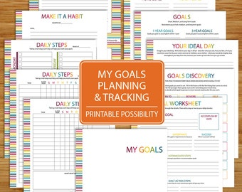 Goal Planning and Tracking Worksheet Printable - 11 Pages incl.cover - 8.5x11 inch Printable Digital Files - Resolutions and Goal Worksheets