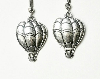 Hot Air Balloon Earrings. Hot Air Balloon Jewelry. Silver Hot Air Balloon. Silver Earrings. Silver Jewelry. Steampunk Earrings.