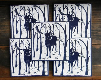 Pack of woodblock print cards,  5 blue Reindeer cards, print, woodcut, winter trees, deer, set of cards, blank, printmaking