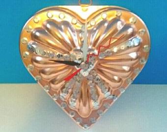 Repurposed Heart Shaped Vintage Jello Mold Clock, Vintage Jello Mold, Upcycled Clock, Functional Art, Made By Mod.