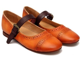 2016 NEW Handmade Retro Leather Flat Loafers Shoes for Women, Casual Strap Shoes, Soft leather Shoes, Leather Slip Ons, Orange shoes