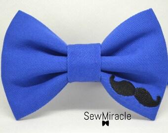 Movember Bow tie, Men's bow tie, Mustache Bow tie,Moustache bowtie, Donation to charity, Blue bow tie