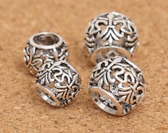 Sterling Silver European Bracelet Beads, Sterling Bracelet Beads, 925 Silver Large Hole Beads, Silver Fleur De Lis Beads 8mm 10mm - F250