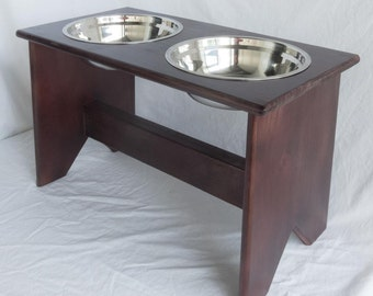 """Elevated Dog Bowls Stand - Wooden - 2 Bowls - 400 mm / 16"""" Tall - Raised Dog Food and Water Bowls"""