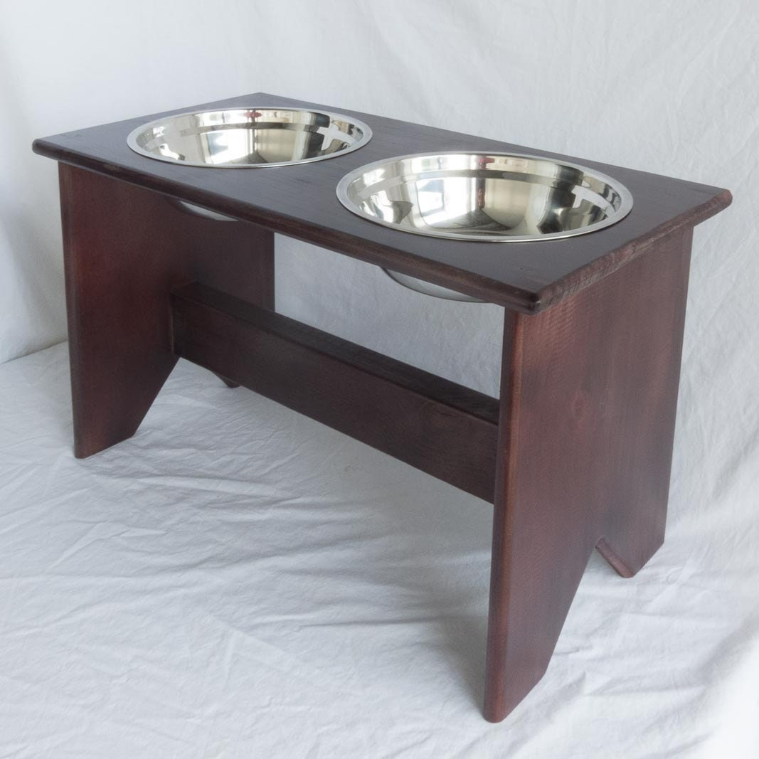Elevated Dog Bowls Stand Wooden 2 Bowls 400 mm